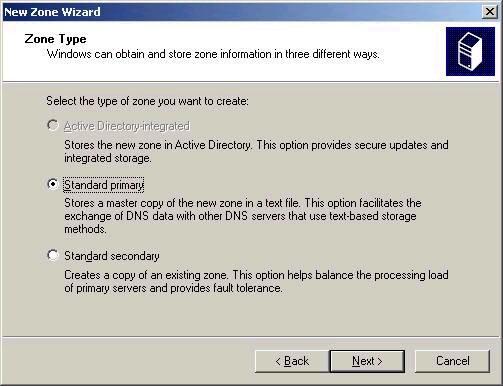 Active Directory Tutorial --  New Zone Wizard