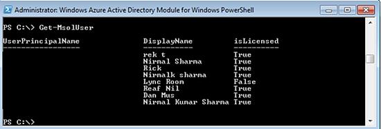 get-msoluser PowerShell Cmdlet - Screenshot #1