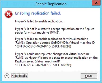 Hyper-V Replica Error Messages - Screenshot 2