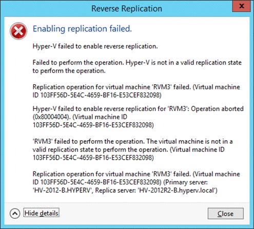 Hyper-V Replica Error Messages - Screenshot 3