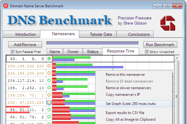 GRC DNS Benchmark screenshot